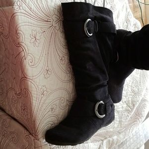 Wmns size 10 Wide calf black suede fabric boots.